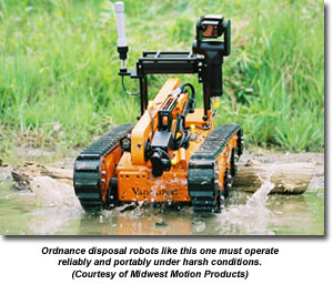 Ordnance disposal robots like this one must operate reliably and portably under harsh conditions. (Courtesy of Midwest Motion Products)