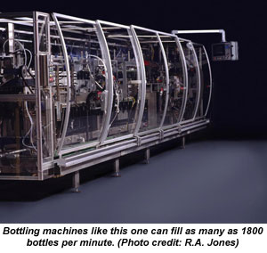 Bottling machines like this one can fill as many as 1800 bottles per minute.