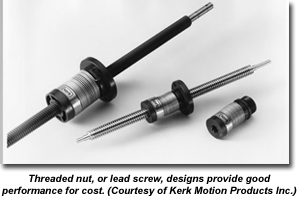 Threaded nut, or lead screw, designs provide good performance for cost. (Courtesy of Kerk Motion Products Inc.)