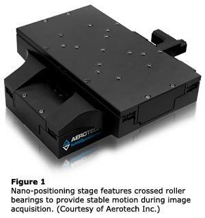 Figure 1:  Nano-positioning stage features crossed roller bearings to provide stable motion during image acquisition. (Courtesy of Aerotech Inc.)
