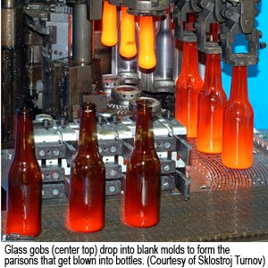 Glass gobs (center top) drop into blank molds to form the parisons that get blown into bottles. (Courtesy of Sklostroj Turnov)