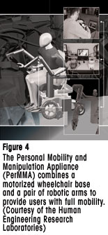 Figure 4 - The Personal Mobility and Manipulation Appliance (PerMMA) combines a motorized wheelchair base and a pair of robotic arms to provide users with full mobility. (Courtesy of the Human Engineering Research Laboratories)