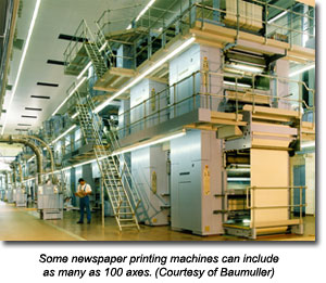 Some newspaper printing machines can include as many as 100 axes. (Courtesy of Baumuller)