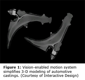 Figure 1: Vision-enabled motion system simplifies 3-D modeling of automotive castings. (Courtesy of Interactive Design)