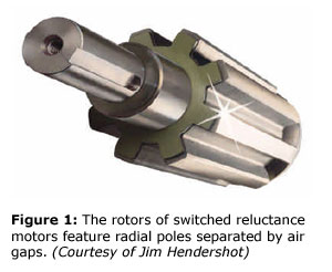 Figure 1: The rotors of switched reluctance motors feature radial poles separated by air gaps. (Courtesy of Jim Hendershot)
