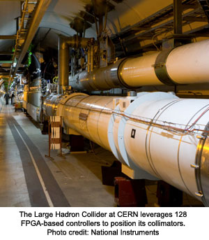The Large Hadron Collider at CERN leverages 128 FPGA-based controllers to position its collimators.