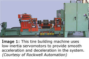 Figure 1: This tire building machine uses low-inertia servomotors to provide smooth acceleration and deceleration in the system. (Courtesy of Rockwell Automation)