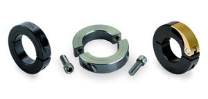Clamp style shaft collars from Ruland (from left to right):One-piece shaft collar, two-piece shaft collar, and quick clamping shaft collar.