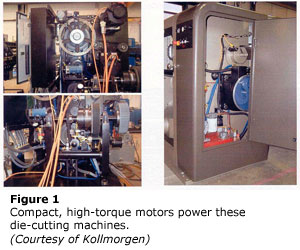 Compact, high-torque motors power these die-cutting machines.