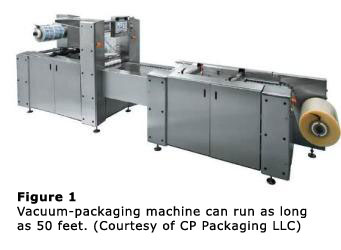 Figure 1 - Vacuum-packaging machine can run as long as 50 feet. (Courtesy of CP Packaging LLC)