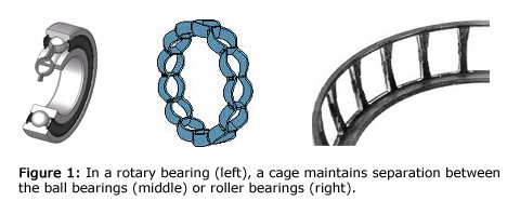 Figure 1: In a rotary bearing (left), a cage maintains separation between the ball bearings (middle) or roller bearings (right).
