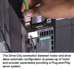 The Drive-Cliq connection between motor and drive allow automatic configuration at power-up of motor and encoder parameters providing a Plug-and-Play servo system.