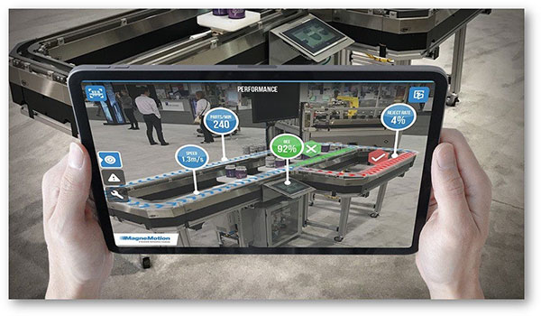 Figure 4: Augmented reality overlays data from IIoT system onto images seen. (Courtesy of PTC)
