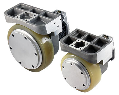 Integrated wheel actuators incorporate the entire electromechanical actuator with the wheel in an assembly that just needs to be connected to the chassis. (Courtesy of Allied Motion)