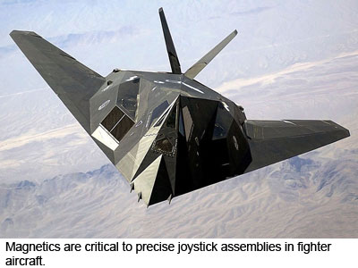Magnetics are critical to precise joystick assemblies in fighter aircraft.