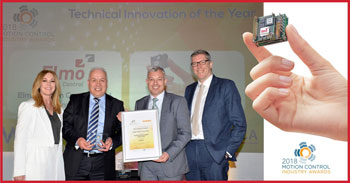 Gary Busby (centre left) and Craig Gaukroger (centre right) of Elmo Motion Control receive the Technical Innovation from host Helen Fospero and Steve Bramley of category sponsor GAMBICA