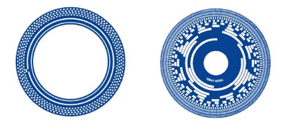 The code disk for an incremental encoder (left) is patterned in concentric zones of alternating opaque and transparent zones to generate a stream of square wave pulses. The disk for an absolute encoder (right) is patterned to generate a unique digital word for each angular position. Each bring in an absolute encoder tsk corresponds to one bit of resolution. (Courtesy of Dynapar)