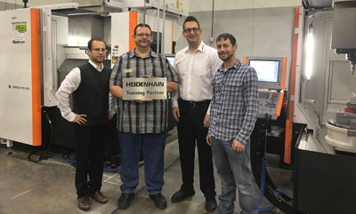 HEIDENHAIN announces that Community College of Denver (CCD) is their first Authorized Training Partner for HEIDENHAIN TNC controls in North America.  Pictured here (from left to right) are:  HEIDENHAIN's Julian Renz, CCD's Eric Miller, HEIDENHAIN's Joe Pizzoferrato