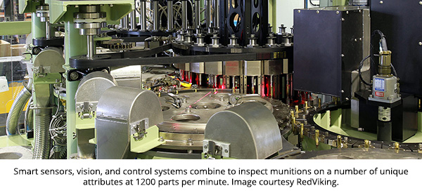Smart sensors, vision, and control systems combine to inspect munitions on a number of unique attributes at 1200 parts per minute. Image courtesy RedViking.