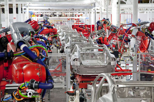 Factory automation in an automotive plant.