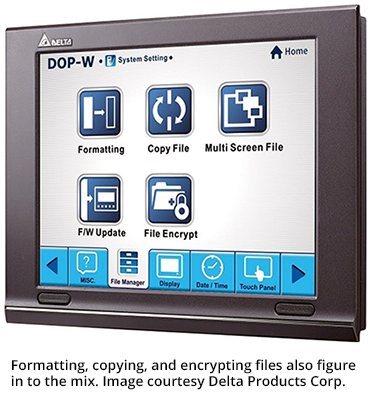 Formatting, copying, and encrypting files also figure in to the mix. Image courtesy Delta Products Corp.