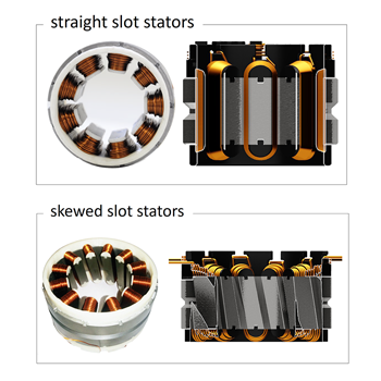 Straight slot stators and skewed slot stators