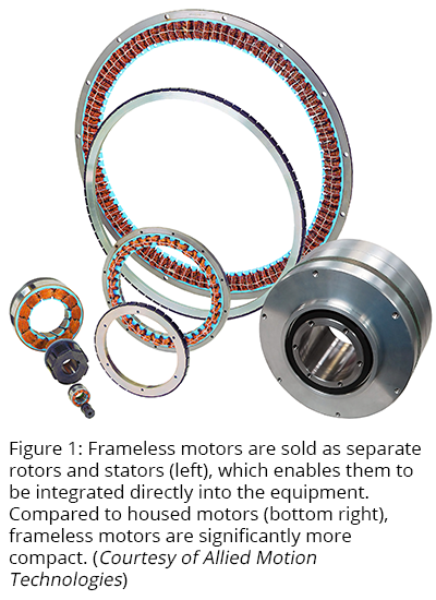 Figure 1: Frameless motors are sold as separate rotors and stators (left), which enables them to be integrated directly into the equipment. Compared to housed motors (bottom right), frameless motors are significantly more compact. (Courtesy of Allied Motion Technologies)