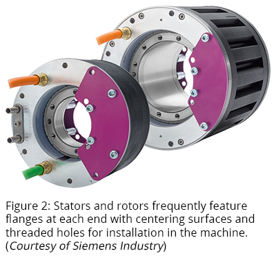 Figure 2: Stators and rotors frequently feature flanges at each end with centering surfaces and threaded holes for installation in the machine. (Courtesy of Siemens Industry)