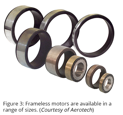 Figure 3: Frameless motors are available in a range of sizes. (Courtesy of Aerotech)