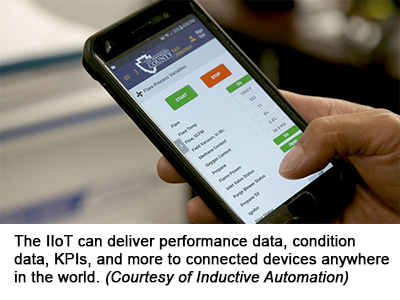 The IIoT can deliver performance data, condition data, KPIs, and more to connected devices anywhere in the world. (Courtesy of Inductive Automation)