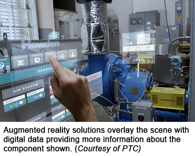 Augmented reality solutions overlay the scene with digital data providing more information about the component shown. (Courtesy of PTC)