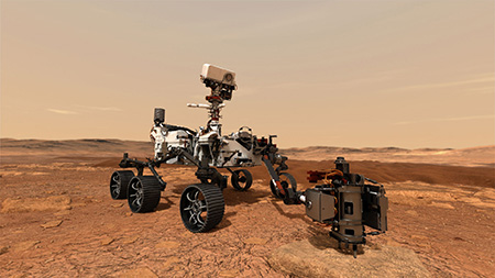 The Perseverance rover obtaining a sample on Mars (artist's rendition) ©NASA/JPL-Caltech