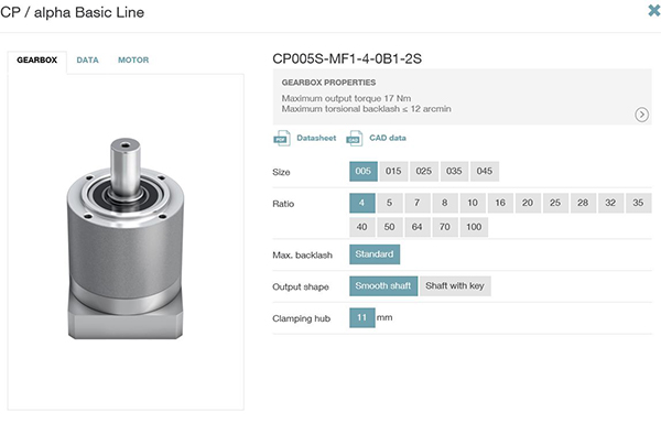 CAD data and specs for CP Inline Planetary Gearbox