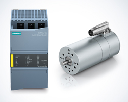 Siemens' Simatic Micro-Drive relies on drive solutions from ebm-papst. Shown here: the ECI-63.XX-K1 with an industrial plug.