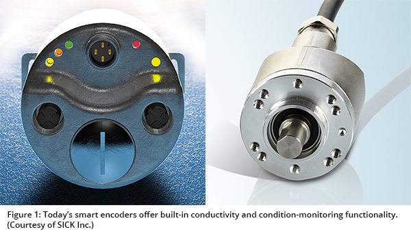 Figure 1: Today's smart encoders offer built-in conductivity and condition-monitoring functionality. (Courtesy of SICK Inc.)