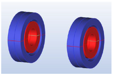 Fig. 1 Passive Magnetic Bearing Dual Ring Pair Ne 45, Repulsive magnetisation in both radial (x,y) direction and in the axial direction (z). The motor axis coincides with the z-coordinate.