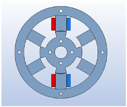 Fig.4 The reluctance motor geometry designed with MAGNETO has salient poles for both rotor and stator. A preferred choice is 4 rotor poles and 6 stator poles with three stator coil pairs.