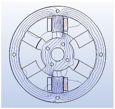 Fig.5 The field lines of the reluctance motor shown with the rotor in the -30 deg position with maximum reluctance obtained with MAGNETO with current flow in one coil pair only.