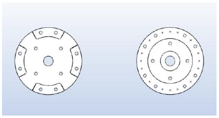 Fig. 7a The 2D geometry of the salient rotor with its 4 sectorial sections and the rotor mounting disk have been designed with MAGNETO 2D