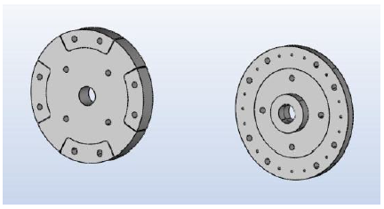 Fig 7b The 3D geometry of the salient rotor with its 4 sectorial sections and of the rotor mounting disks have been generated with AMPERES 3D