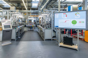 The Industry 4.0 assembly line at Bosch Rexroth in Homburg, Germany, integrates human, product, and machine to economically manufacture a multitude of customized products.